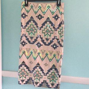 EXPRESS S Sequin Aztec Midi Pencil Skirt NWT